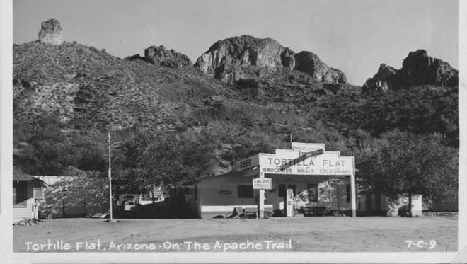 Established in the early 1900s and nestled in a little green valley along the Apache Trail, Tortilla Flat has grown into a small, engaging enclave attracting motorists travelling to and from Roosevelt Dam.