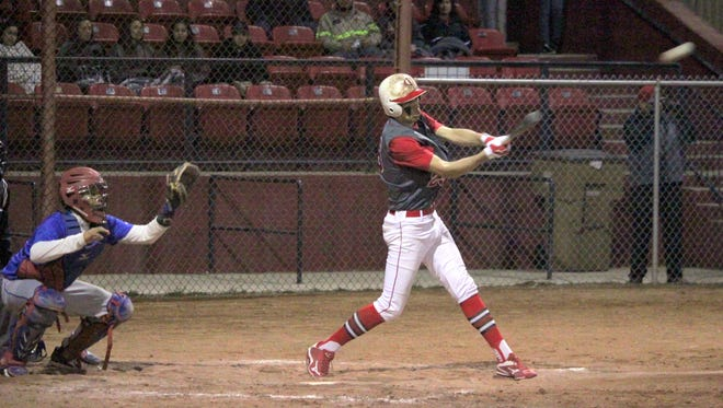 Felix Dominguez had a good night at the plate against Hot Springs. He was 2-for-4, with a double, a triple and two RBIs. Above, he hits this ball into the gap to tally his triple.