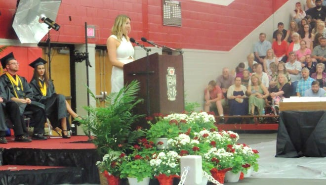 Kimberly Novosel speaks at the graduation ceremony at Meadville Area Senior High School in Meadville, Pa.