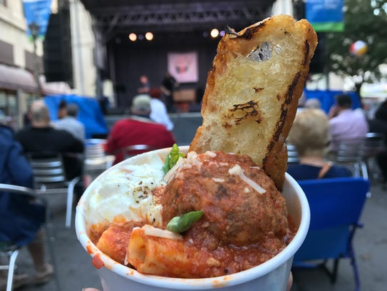 The Meatball Truck serves rigatoni topped with a meatball,