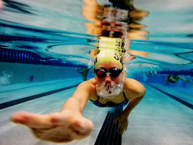 A swimmer dives underwater during a swim workshop held