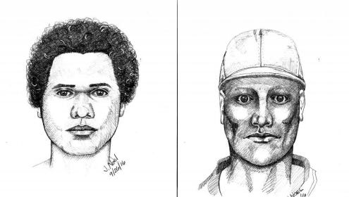 Two suspects sought in connection with a Westwood slaying.