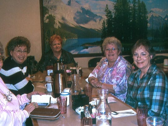 Members of the Great Falls Chapter of Business and Professional Women meet in the conference room at Perkins twice a month. In 2008 members, from left, Regina Larson, Penny Huntsberger, Judith Graham, Inge Buchholz, Cande Recke presented Cari Yturri with the Woman of Achievement award.
