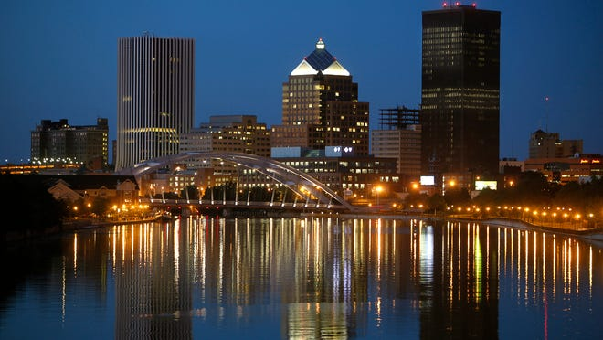 Skyline of the city of Rochester.