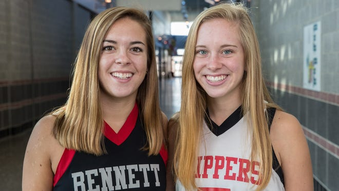 Keegan Marsh, left, poses for a photo with her sister Laney at James M. Bennett High School on Wednesday, Nov. 22, 2017.