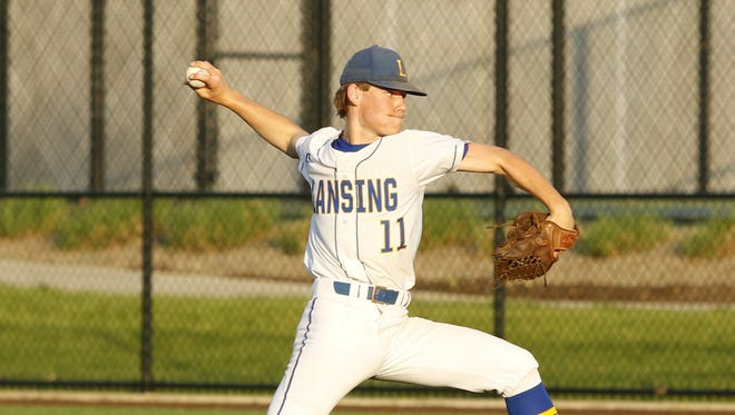 Garrett Bell delivers a pitch for Lansing on May 25 during the Section 4 Class C final against Thomas A. Edison at Binghamton University.