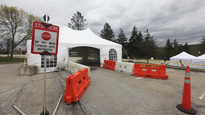 The COVID-19 drive-thru test site in the upper parking lot of Sussex County Community College, seen here Wednesday, May 6, will close Friday.