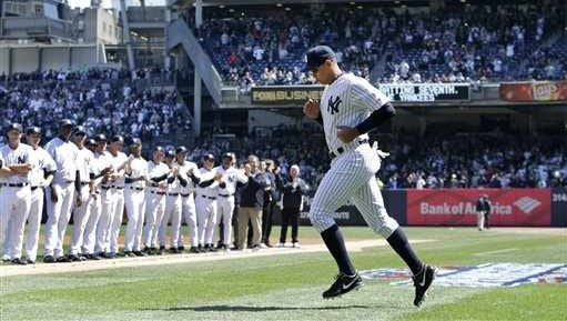Yankees designated hitter Alex Rodriguez is introduced at Yankee Stadium on Opening Day 2015.