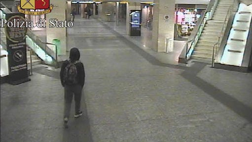 In this frame grab made available by the Italian police, Anis Amri, the main suspect in Berlin's deadly Christmas market attack walks through the train station on Dec. 22.