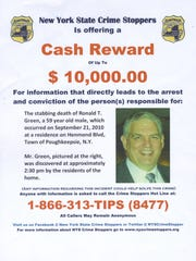 A flyer released by the Town of Poughkeepsie Police Department detailing a reward for any information on the Ronald Green homicide.