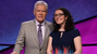 Jeopardy host Alex Trebek with contestant and Roeper