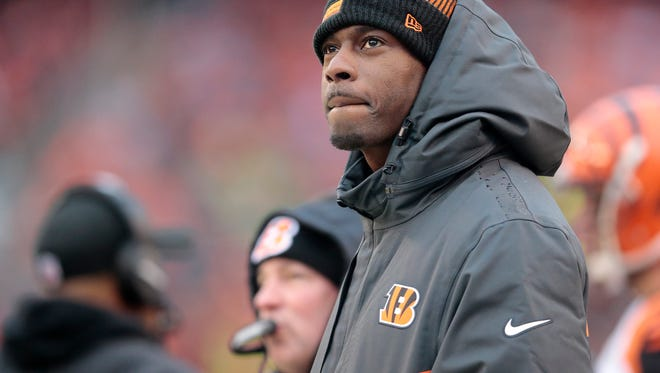 Cincinnati Bengals wide receiver A.J. Green (18) watches the the Week 14 NFL game between the Cincinnati Bengals and the Cleveland Browns, Sunday, Dec. 11, 2016, at FirstEnergy Stadium in Cleveland. Cincinnati leads 20-0 at halftime.