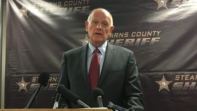 Stearns County Sheriff Don Gudmundson reads a statement at a press conference Friday, June 2, 2017 at the Stearns County Sheriff's Office. The family of Jacob Wetterling filed a suit blocking the release of the case file until portions are reviewed by a judge.