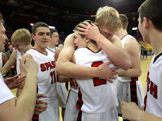 BOTTOM LEFT: Stevens Point Area Senior High's Ted Kearney (2) and Andrew Ruzek hug after the Panthers' victory over Germantown on Saturday in Madison. BOTTOM MIDDLE: SPASH players celebrate as a team. BOTTOM RIGHT: Trev Anderson celebrates after SPASH's win over Germantown, earning SPASH a WIAA Division 1 state title.