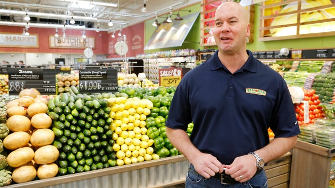 Chris Sherrell, chief executive of Fresh Thyme Farmers Market, says food, not oil changes, gasoline or tires, is the company's focus.