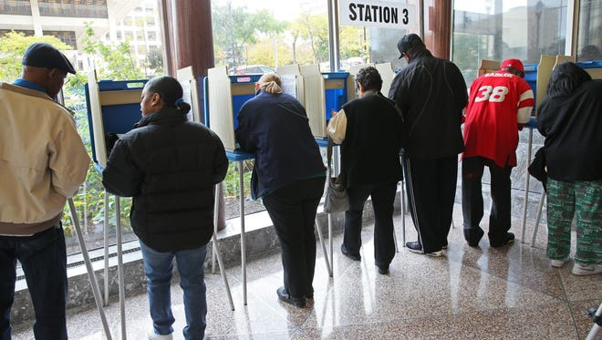 A steady stream of Milwaukee residents arrived at the Zeidler Municipal Building for the first day of early voting in 2014. Early voting this year will begin in late September.