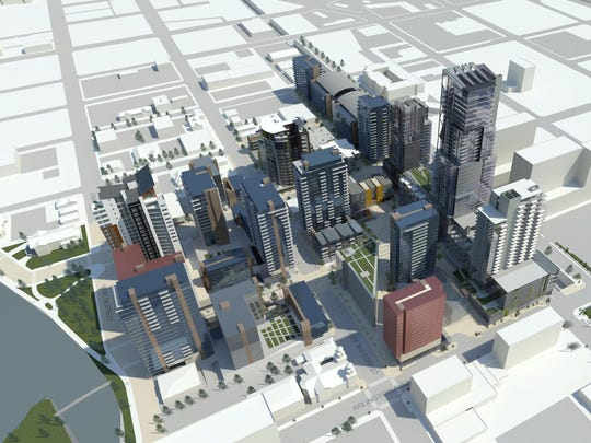 A rendering showing the final phase of West 2nd District in downtown Reno, facing northwest. This phase would take up to 10 years to build, according to Don Clark, owner of Don Clark Group.