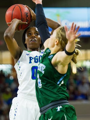 FGCU women's basketballs Dytiesha Dunson(00) goes up for a shot during the Sweet 16 of the Women's NIT at Alico Arena in Fort Myers, Fla. on Wednesday, March 23, 2016. (Logan Newell/Special to the Daily News)