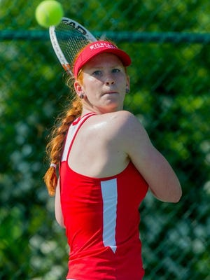DANIEL R. PATMORE / SPECIAL TO THE COURIER & PRESS Mater Dei's Lauren Marx keep her eye on the ball before returning it to Memorial's Mckenzie Myers in their singles match during the SIAC championship rounds at Wesselman Park Tennis Courts in Evansville, Ind. Friday evening, May 6, 2016.