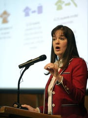 Tennessee Commissioner of Education Candice McQueen speaks at Carson-Newman University's Tarr Music Building in April 27, 2015. McQueen presented information regarding the performance of Tennessee P-12 students, Tennessee Academic Standards and other topics.