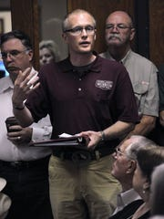 Daniel Schlegel, Jr. speaks to the Scurry County Commissioners Court in 2016 after funding for the Scurry County Museum was cut for the 2017 proposed budget. Schlegel and others were able to get the county to reconsider and funding was restored to the 42 year-old institution.