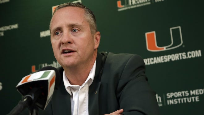 Miami athletic director Blake James speaks during a news conference in Coral Gables after head football coach Mark Richt announced his retirement in late 2018.