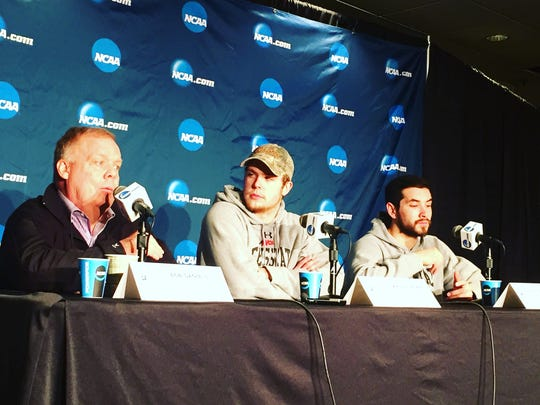 Ferris State coach Bob Daniels and players Kyle Schempp and Simon Denis at the NCAA West Regional men's hockey press conference Friday at Xcel Energy Center. The Bulldogs play St. Cloud State at 2 p.m. Saturday in the regional semifinals.