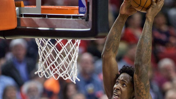 Portland Trail Blazers center Ed Davis dunks as Milwaukee