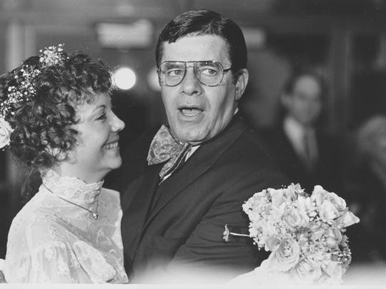 """Comedian Jerry Lewis and his new bride, SanDee, are shown minutes after they were married in Key Biscayne, Fla., Sunday night, Feb. 13, 1983.  Lewis married 32-year-old SanDee """"Sam"""" Pitnick of Winston-Salem, North Carolina, a Las Vegas dancer, in a small private ceremony.  (AP Photo/Doug Jennings)"""