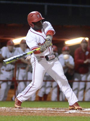 Petal's Xavier Yancey takes a swing during a regular season game against Pearl River Central earlier this season. The Panthers are set to face George County in the South State finals beginning on Thursday.