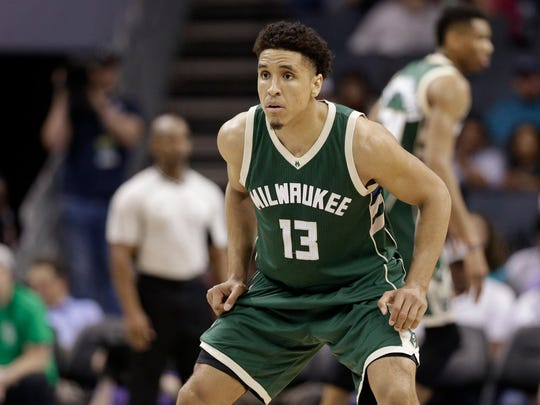 Bucks guard Malcolm Brogdon injured his left leg Thursday vs. the Timberwolves in Minneapolis.