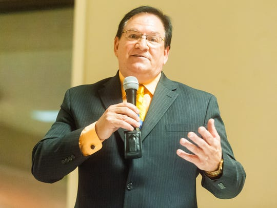 Mayoral candidate Robert Romano speaks during a Vineland