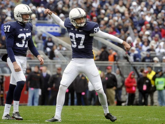 """Penn State kicker Sam Ficken reacts after nailing"