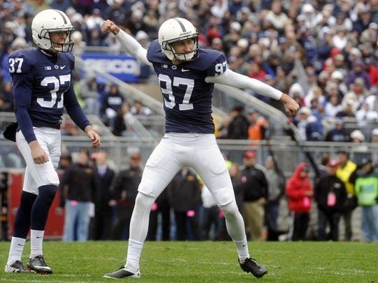 """""""Penn State kicker Sam Ficken reacts after nailing a 46-yard field goal to give the Nittany Lions a 9-7 lead in the first half of a Big Ten football game at Beaver Stadium on Saturday, Nov. 1, 2014. A newcomer to the conference, Maryland defeated Penn State 20-19 in the schools' first meeting since 1993 to win the Terrapins' first-ever Beaver Stadium victory. \""""Let the rivalry begin,\"""" Maryland head football coach and York County native Randy Edsall told the press, referring to a decades-long but 21-year-dormant rivalry whose series Penn State continues to lead 35-2-1."""