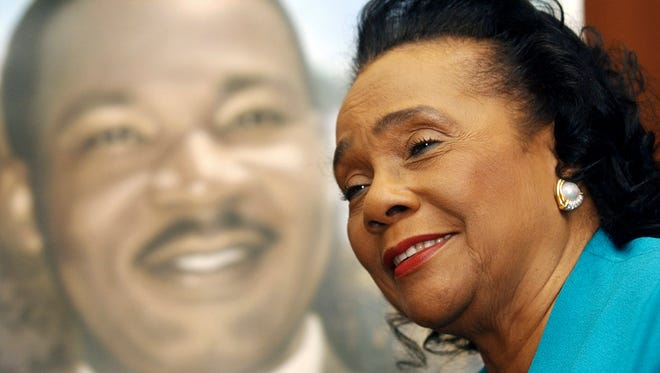"""FILE - In this Jan. 13, 2004, file photo, Coretta Scott King, widow of slain civil-rights leader Martin Luther King Jr., speaks during an interview at the King Center for Nonviolent Social Change in Atlanta. Bernice King, daughter of Coretta Scott King said March 31, 2017, that she wants her family to publish the speeches, letters and commentary of the widow of civil rights icon Martin Luther King Jr. """"I know that her voice and her life can serve as a true inspiration to so many women,"""" Bernice King said."""