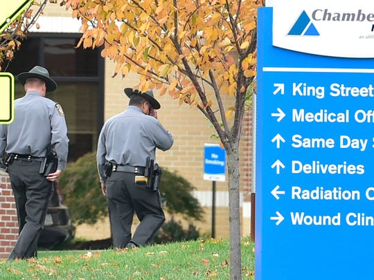 State Police are investigating an incident at Chambersburg Hospital following an incident on Thursday morning, November 3, 2016.