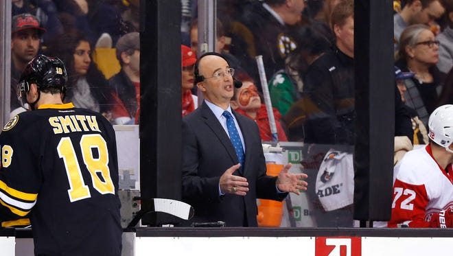 NBC hockey analyst Pierre McGuire is seen during the third period of the Boston Bruins 5-3 win over the Detroit Red Wings at TD Garden.