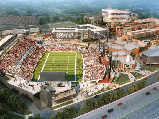 This artists rendering provided by HKS shows the proposed state-of-the-art Pro Football Hall of Fame Village in Canton, Ohio. David Baker has a vision. He sees a state-of-the-art stadium; eight fields in a youth sports complex (plus three more on campus); an indoor arena; a center for athletic performance and safety; a player care center; and a hotel. All of it, and more, surrounding the Pro Football Hall of Fame of which Baker is president & CEO. (HKS via AP)