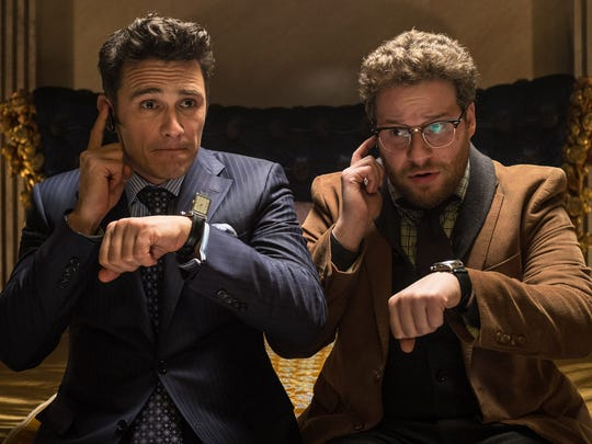 "James Franco (left) as Dave and Seth Rogen as Aaron in ""The Interview."""