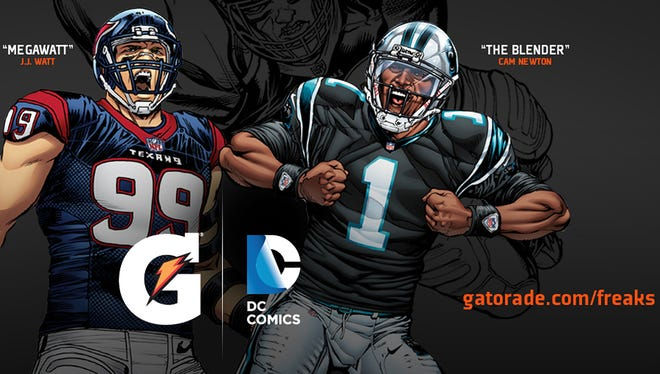 Houston Texas defensive lineman J.J. Watt and Carolina Panthers quarterback Cam Newton are featured in a pair of digital comics.