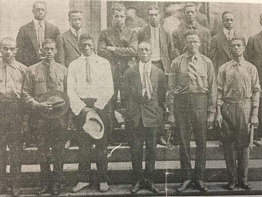 Recruits are photographed on the courthouse steps in Chambersburg just after signing to join the War effort circa 1918.
