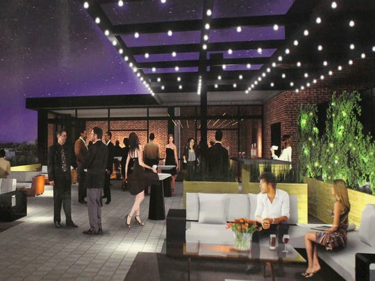 Concept art for a rooftop lounge at the Count Basie