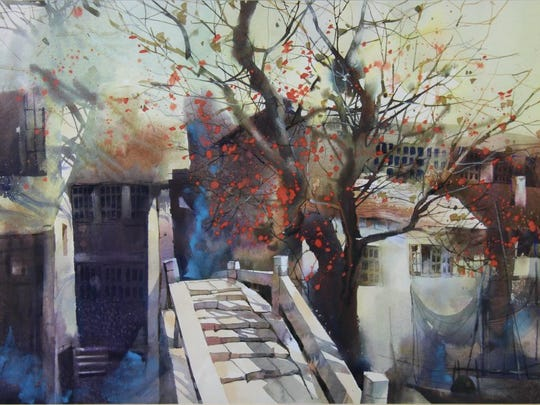 "Mei Shu, ""Bridge, ""1999, watercolor on paper. SMMA Purchase Award from Watercolor USA."