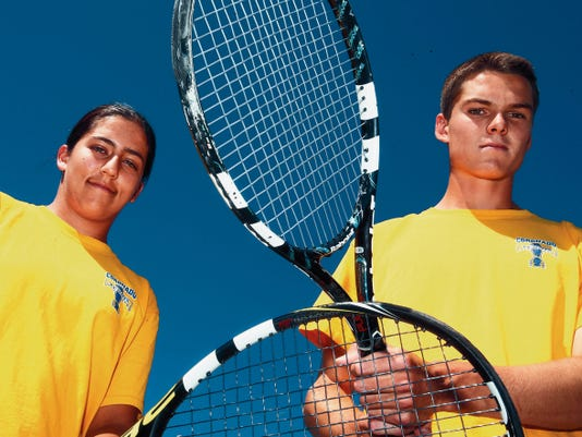 Coronado High School teammates Marjorie Antohi, left, and Nathan Brown have been named the El Paso Times All-City Tennis Players of the Year. Antohi will be a senior, while Brown graduated this week.