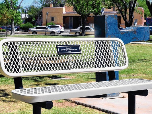 Jaime Guzman for the Sun-News      The new park bench is near the Gazebo at Pioneer Park.  In the background is the GFWC Progress Club of Las Cruces.