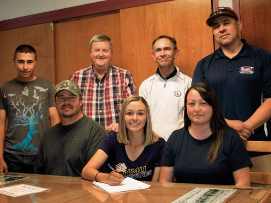 Senior Lady Wildcat Shelby Turner, seated, center, signed a letter of intent Thursday to play golf for the Western New Mexico University women's golf team in Silver City. Standing from left, are: brother Josh Turner, DHS Athletic Director Mike Ellis and DHS Golf Coaches James Williams and Richard Preales. Turner is flanked by her parents, Ray and Lori Turner.