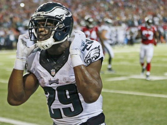 Philadelphia Eagles running back DeMarco Murray celebrates his touchdown against the Atlanta Falcons on Monday. It was one of just eight carries for Murray in the game. (AP Photo/John Bazemore)