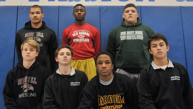 Seven Bayside south wrestlers finished in first place at the Bayside Conference wrestling meet on Feb. 20. First place finishers were Bryan Outten of Snow Hill, Louis Bernard of James M. Bennett, Jose Vasquez of Parkside, Decklan Fischer of Snow Hill, Robert Kaminski of Stephen Decatur, Nasir Tucker of Mardela and Andy McKahan of Stephen Decatur.