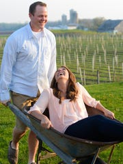 Emily and Bryan at Parallel 44 Winery in Kewaunee