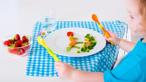 Toddler servings are much smaller than adult servings. Use a child-size, smaller plate to help you provide the correct portion size.